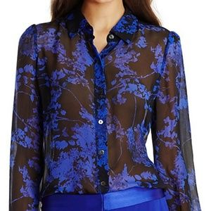 DVF Mariah Silk Floral Blouse Sheer SZ 4